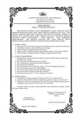 Pengumuman Pendaftaran Anggota BPD Desa Menyali Periode Tahun 2019/2024