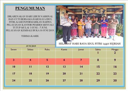 Libur dan Cuti Bersama Hari Raya Idul Fitri, Pelayanan Kantor Pemdes Menyali Tutup